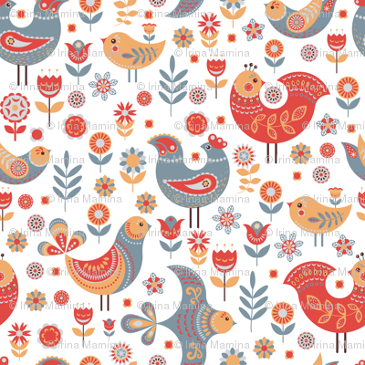 Birds, flowers and leaves in the Scandinavian style.
