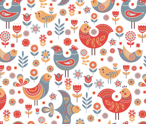 Birds, flowers and leaves in the Scandinavian style. fabric by irina_skaska on Spoonflower - custom fabric