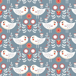 Little birds on a gray background.