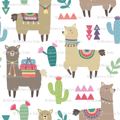 Alpaca and Cactus Pattern on White Background