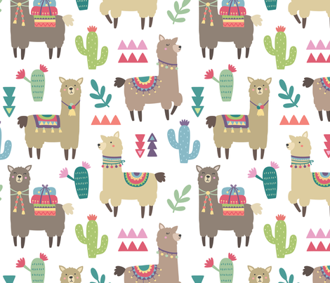 Alpaca and Cactus Pattern on White Background fabric by kennasatodesigns on Spoonflower - custom fabric