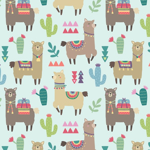 Alpaca, Cactus, and Triangle Pattern