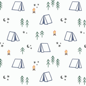 Camp Pattern with Trees, Camp Fires, Tents, and More