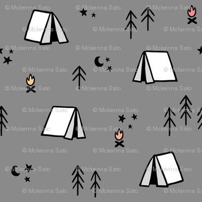 Camping Pattern on Grey Background