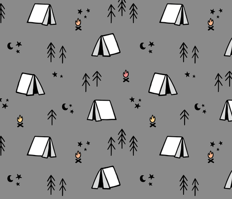 Camping Pattern on Grey Background fabric by kennasatodesigns on Spoonflower - custom fabric