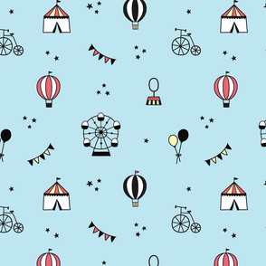 Colorful Circus Pattern on Blue Background