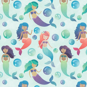 Watercolor Mermaids with Blue Background