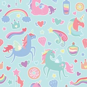 Colorful Unicorn Pattern on a Blue Background