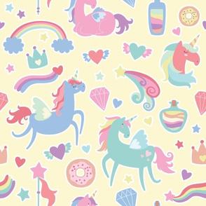 Unicorn Pattern on Yellow Background
