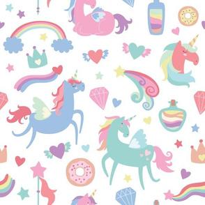 Colorful Unicorns on White Background
