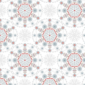 Winter pattern of circular ornaments-snowflakes.
