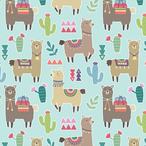 Alpaca Pattern on Light Blue Background