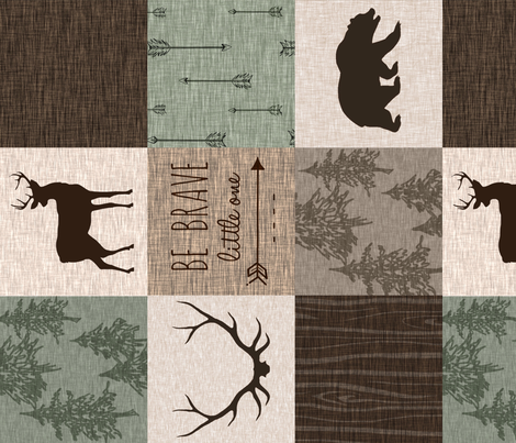 Be Brave - Deer version - green and brown - ROTATED fabric by sugarpinedesign on Spoonflower - custom fabric