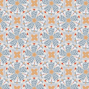Summer pattern of circular floral patterns on a gray background.