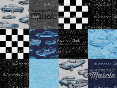 American Muscle Wholecloth Patchwork - blue