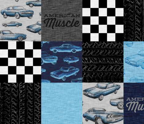 American Muscle Wholecloth Patchwork - blue fabric by sugarpinedesign on Spoonflower - custom fabric