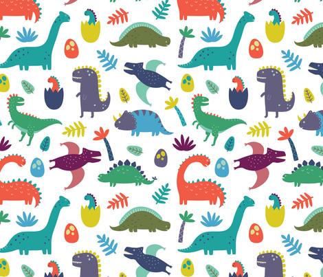 Dinosaur pattern on white background wallpaper kennasatodesigns spoonflower - Paperboy dinosaur wallpaper ...