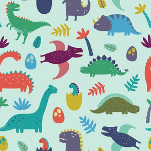 Dinosaur Pattern on Light Green Blue Background