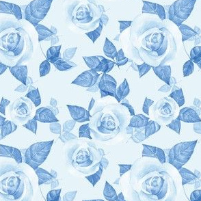 Blue pattern with roses