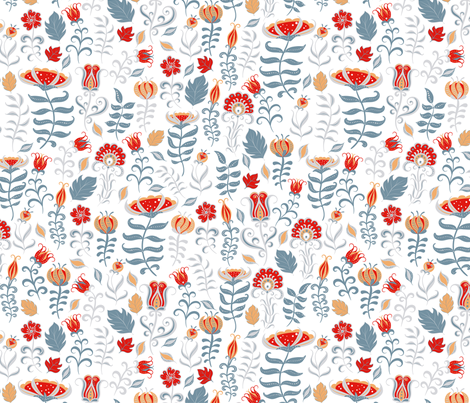 Summer decorative pattern with flowers and leaves.  fabric by irina_skaska on Spoonflower - custom fabric