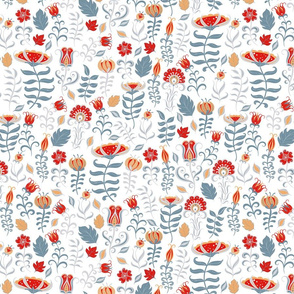 Summer decorative pattern with flowers and leaves.