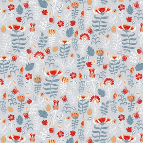 Summer decorative pattern with flowers and leaves on grey background