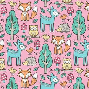 Forest Woodland with Fox Deer Hedgehog Owl & Trees on Pink Smaller
