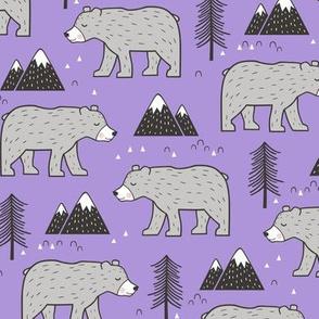 Mountain Bear  Woodland on Purple