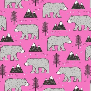 Mountain Bear  Woodland on Dark Pink Smaller