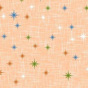 Colourful Stars on Light Orange