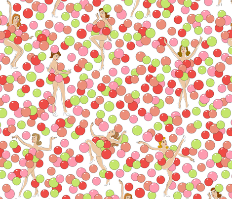 Balloon Dance - coral fabric by tuppencehapenny on Spoonflower - custom fabric
