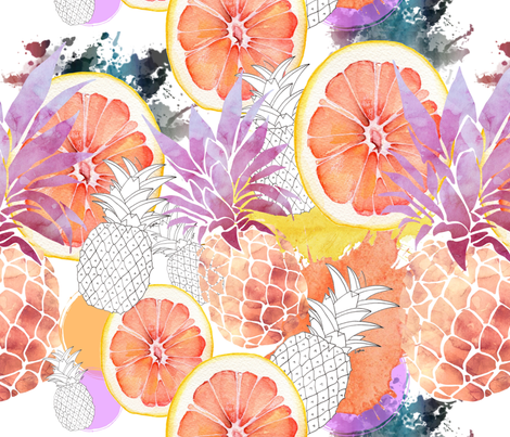 Peachy Pineapples & Orange Slice fabric by floramoon on Spoonflower - custom fabric