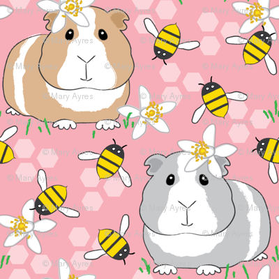 guinea-pigs-with-bees-on-pink