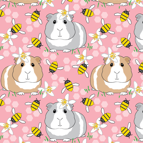 guinea-pigs-with-bees-on-pink fabric by lilcubby on Spoonflower - custom fabric