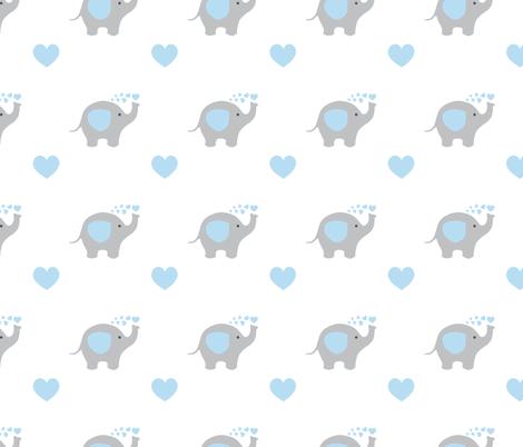 Blue Elephant Hearts Baby Boy Nursery fabric by decamp_studios on Spoonflower - custom fabric