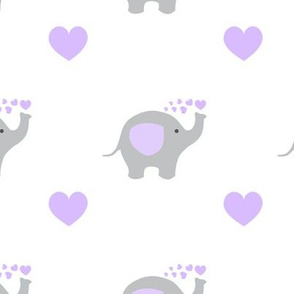 Purple Elephant Hearts Baby Girl Nursery