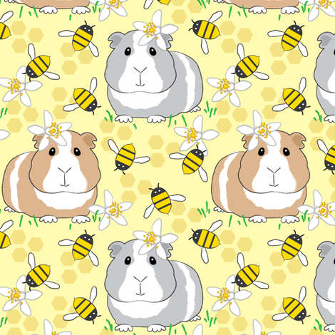 guinea-pigs-with-bees-on-very pale yellow fabric by lilcubby on Spoonflower - custom fabric
