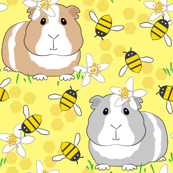 guinea-pigs-with-bees-on-very pale yellow
