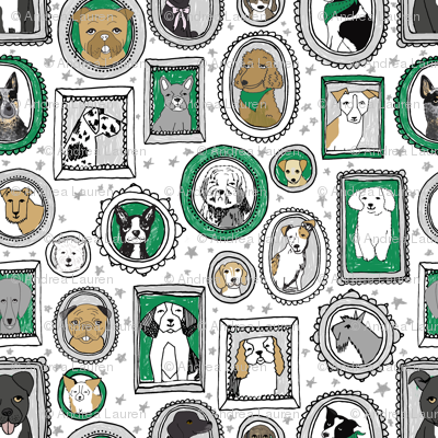 dog portraits cute fabrics for dog person mixed dog breeds kelly green