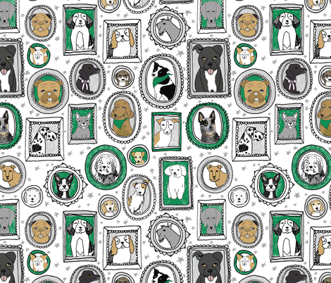 dog portraits cute fabrics for dog person mixed dog breeds kelly green fabric by andrea_lauren on Spoonflower - custom fabric