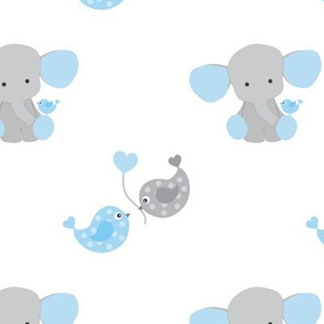 Blue Elephant Chickadee Bird Hearts Baby Boy Nursery
