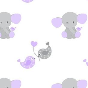 Purple Elephant Chickadee Bird Hearts Baby Girl Nursery