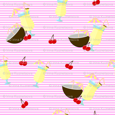 Pattern with Pina colada cocktail
