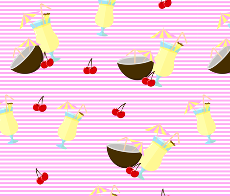 Pattern with Pina colada cocktail fabric by sandystorm on Spoonflower - custom fabric