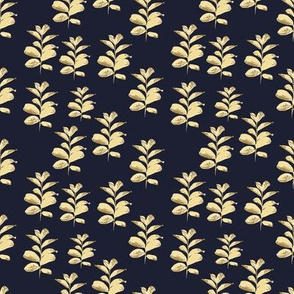 Golden Branches on Dark Blue