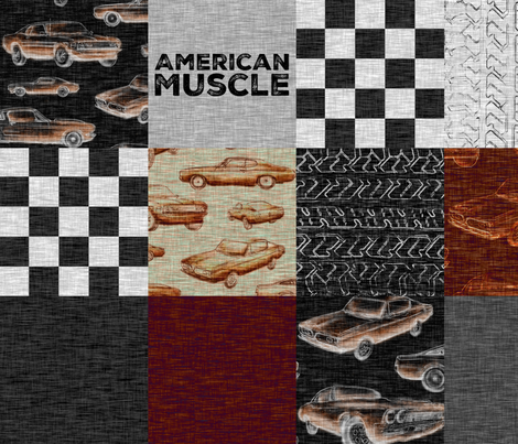 American Muscle Wholecloth Patchwork - red fabric by sugarpinedesign on Spoonflower - custom fabric