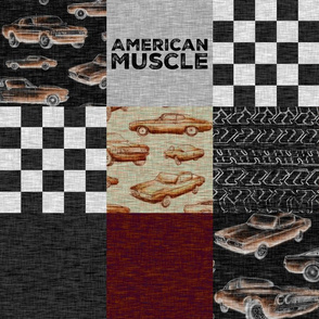American Muscle Wholecloth Patchwork - red