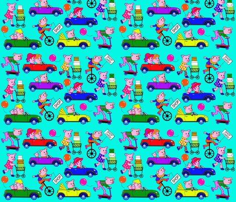 PLAZA PIGS fabric by miki_kitti on Spoonflower - custom fabric
