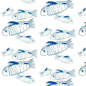 Swimming fish in navy blue and white