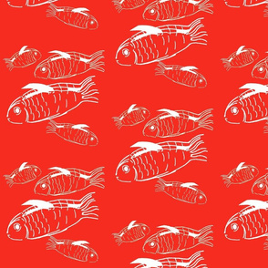 Swimming fish on red background
